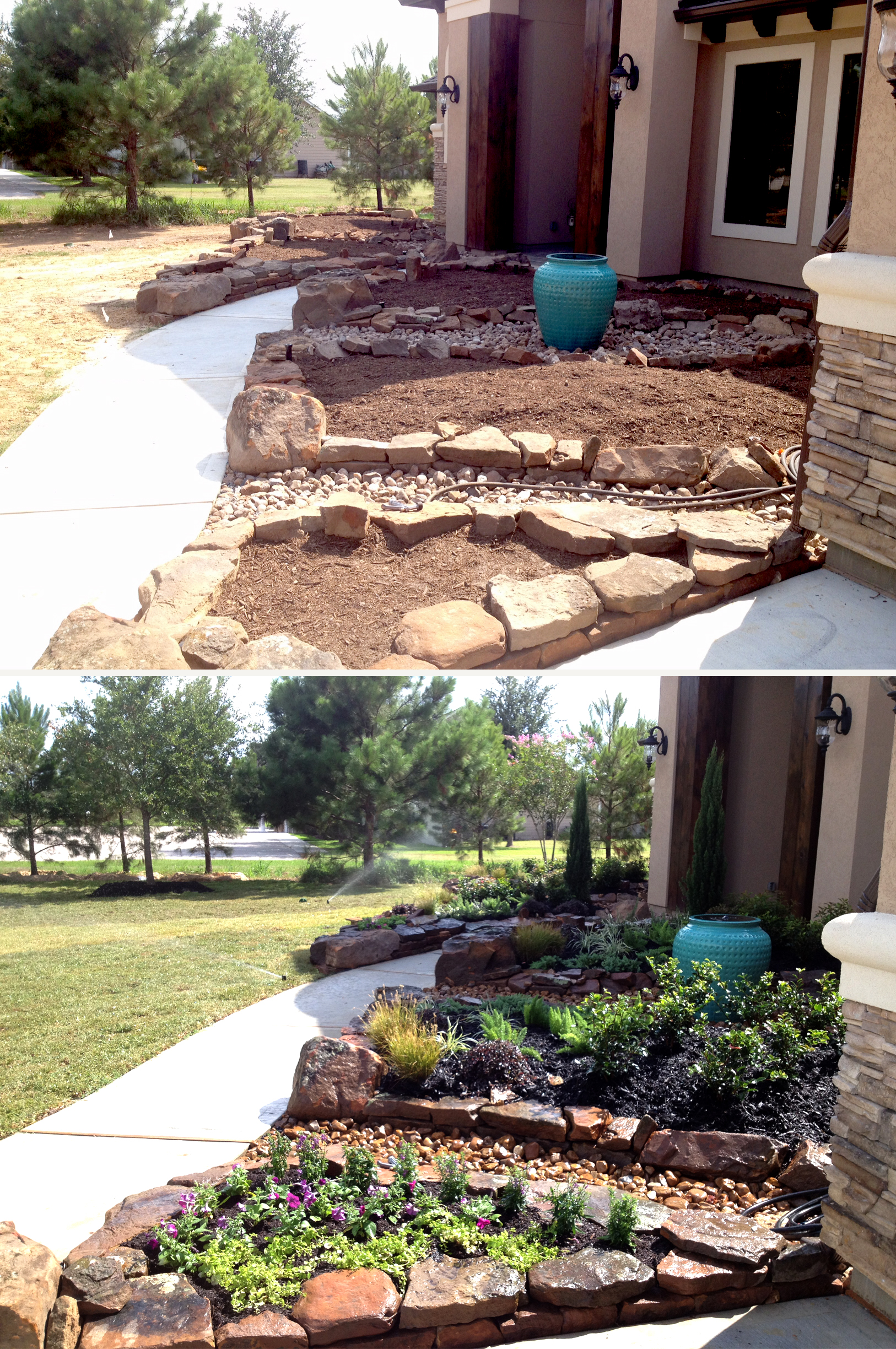 Texas turf management commercial landscaping texas turf for Simple flower bed designs